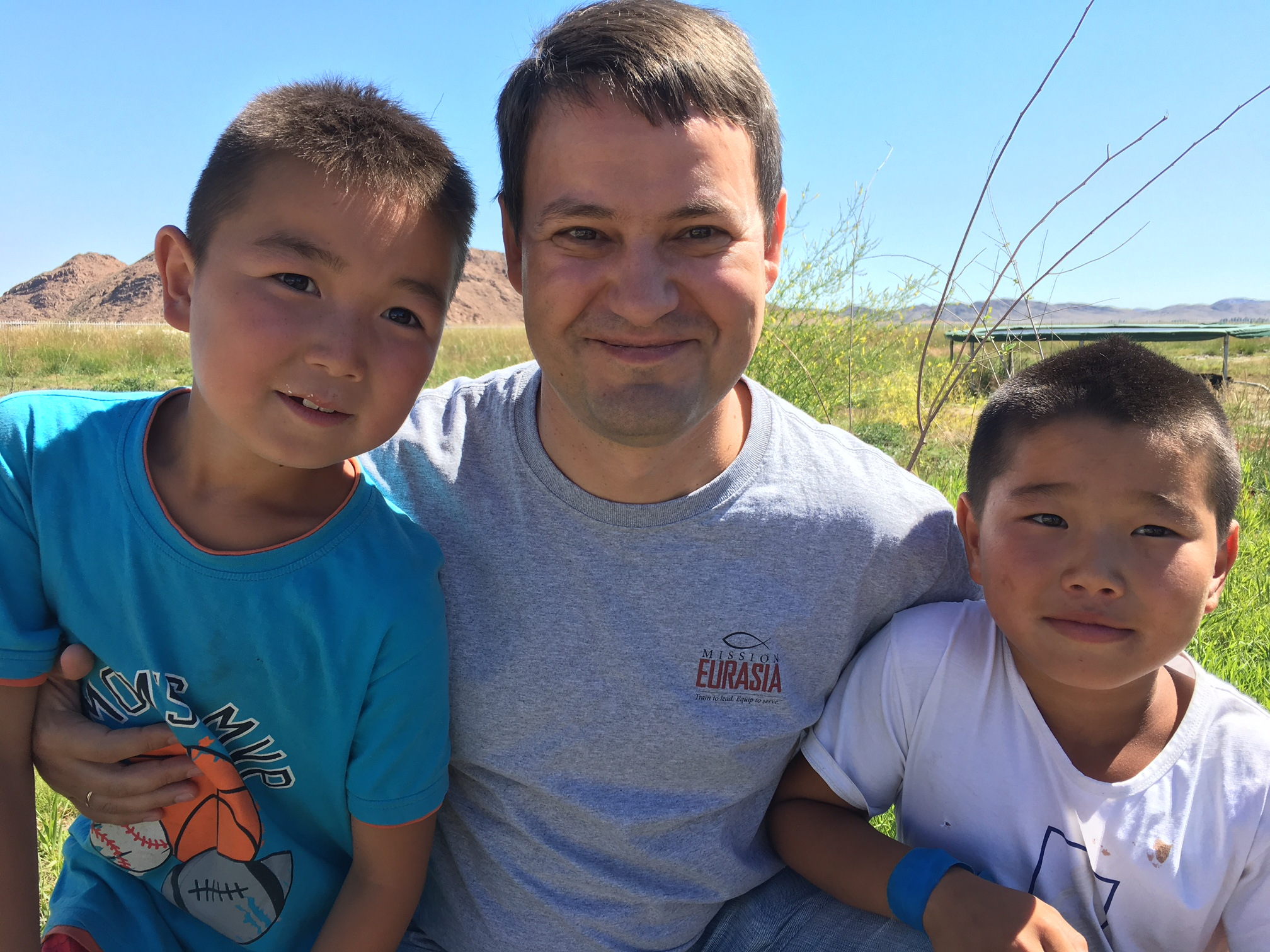 Michael Cherenkov with children at a summer Bible camp in Mongolia