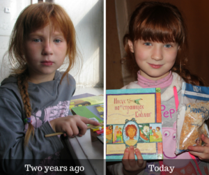 Inessa, a young girl from Ukraine, with rice meals and Scripture