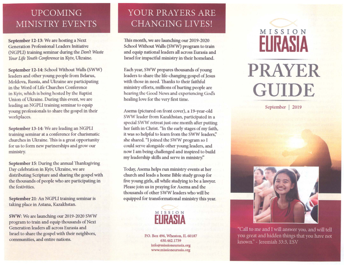 September 2019 Prayer Guide